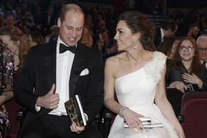 Britain's Prince William and Kate, Duchess of Cambridge arrive for the BAFTA 2019 Awards at The Royal Albert Hall in London, Sunday Feb. 10, 2019. (AP Photo/Tim Ireland, Pool)