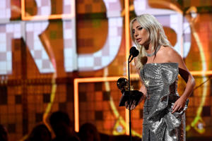 LOS ANGELES, CALIFORNIA - FEBRUARY 10: Lady Gaga accepts Best Pop Duo/Group Performance for 'Shallow' onstage during the 61st Annual GRAMMY Awards at Staples Center on February 10, 2019 in Los Angeles, California. (Photo by Kevork Djansezian/Getty Images)