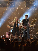 LOS ANGELES, CA - FEBRUARY 10:  Miley Cyrus (L) and Shawn Mendes perform onstage during the 61st Annual GRAMMY Awards at Staples Center on February 10, 2019 in Los Angeles, California.  (Photo by Jeff Kravitz/FilmMagic)