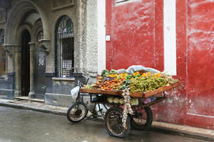 Barrow of a street greengrocer in Havana, Cuba. No people.
