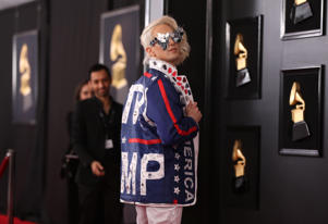 61st Grammy Awards - Arrivals - Los Angeles, California, U.S., February 10, 2019 - Ricky Rebel with a pro-Trump jacket. REUTERS/Lucy Nicholson
