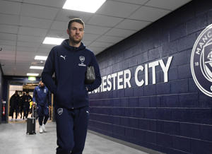MANCHESTER, ENGLAND - FEBRUARY 03: Arsenal's Aaron Ramsey arrives at the Etihad Stadium before the Premier League match between Manchester City and Arsenal FC  on February 03, 2019 in Manchester, United Kingdom. (Photo by Stuart MacFarlane/Arsenal FC via Getty Images)