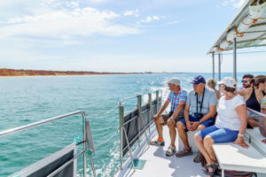 Vilamoura, Portugal - May 17, 2017: Tourists on pleasure boat on the Algrave