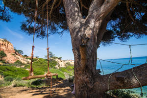 Falesia Beach with swing along coast with view on Atlantic Ocean