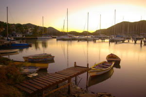 breathtaking Rodney Bay marina at sunset