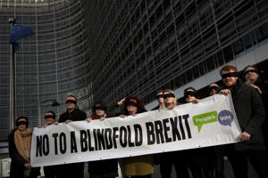 Blindfolded protesters against Brexit hold a banner outside the European Commission headquarters