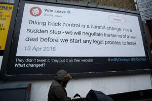 "A billboard put up by the ""Led By Donkeys"" remain in the European Union supporting campaign"
