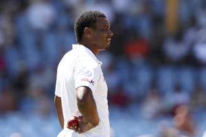 West Indies' Shannon Gabriel waits to bowl against England during day three of the third cricket Test match at the Daren Sammy Cricket Ground in Gros Islet, St. Lucia, Monday, Feb. 11, 2019. (AP Photo/Ricardo Mazalan)