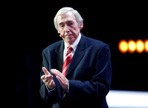 Former English soccer international Gordon Banks stands on stage as he assists with the 2018 soccer World Cup draw in the Kremlin in Moscow, Friday Dec. 1, 2017. (AP Photo/Alexander Zemlianichenko)