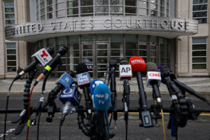 "Microphones are placed outside the Brooklyn Federal Courthouse, during the trial of Joaquin Guzman, the Mexican drug lord known as ""El Chapo,"" in the Brooklyn borough of New York, U.S., February 7, 2019.  REUTERS/Brendan McDermid"