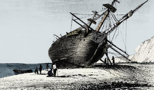HMS 'Beagle' laid ashore, Rio Santa Cruz, Patagonia, South America, 1834 (1839). The 'Beagle', commanded by Robert Fitzroy, set sail on a 5-year voyage around the world in December 1831, with the naturalist Charles Darwin (1809-1882) aboard. It was during this voyage that Darwin made observations that helped form his theory of evolution. From Narrative of the Surveying Voyages of His Majesty's Ships Adventure and Beagle by Robert Fitzroy. (London, 1839). (Colorised black and white print). Artist Unknown.. (Photo by The Print Collector/Getty Images)