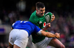 Dublin , Ireland - 10 March 2019; Jonathan Sexton of Ireland is tackled by Etienne Falgoux of France during the Guinness Six Nations Rugby Championship match between Ireland and France at the Aviva Stadium in Dublin. (Photo By Brendan Moran/Sportsfile via Getty Images)
