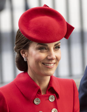 LONDON, ENGLAND - MARCH 11: Catherine, Duchess of Cambridge attends the Commonwealth Day Service at Westminster Abbey on March 11, 2019 in London, England. (Photo by Mark Cuthbert/UK Press via Getty Images)