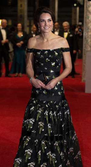 Britain's Catherine, Duchess of Cambridge arrives to attend the BAFTA British Academy Film Awards at the Royal Albert Hall in London on February 12, 2017.  The British Academy of Film and Television Arts supports, develops and promotes the art forms of the moving image by identifying and rewarding excellence, inspiring practitioners and benefiting the public. / AFP / POOL AND AFP / Daniel LEAL-OLIVAS        (Photo credit should read DANIEL LEAL-OLIVAS/AFP/Getty Images)