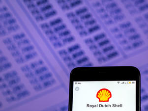 Royal Dutch Shell Oil industry company logo seen displayed on smart phone.