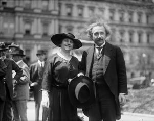 Albert Einstein with his wife Elsa, State, War, and Navy building in background, Washington DC. Photographer Harris and Ewing. 1921 and 1923. (Photo by: Photo 12/ UIG via Getty Images)