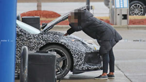 a person sitting on a sidewalk: C8 Corvette Breakdown Spy Photo