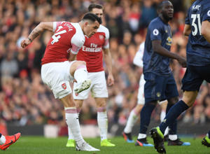 LONDON, ENGLAND - MARCH 10: Granit Xhaka scores for Arsenal during the Premier League match between Arsenal FC and Manchester United at Emirates Stadium on March 10, 2019 in London, United Kingdom. (Photo by Stuart MacFarlane/Arsenal FC via Getty Images)