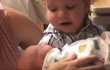 Little boy meets newborn sister for the first time