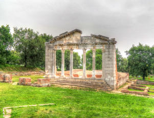 Monument of Agonothetes in Ruins of an ancient Greek city of Apollonia at Fier County, Albania