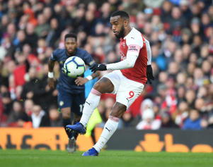 LONDON, ENGLAND - MARCH 10: Alex Lacazette of Arsenal during the Premier League match between Arsenal FC and Manchester United at Emirates Stadium on March 10, 2019 in London, United Kingdom. (Photo by Stuart MacFarlane/Arsenal FC via Getty Images)