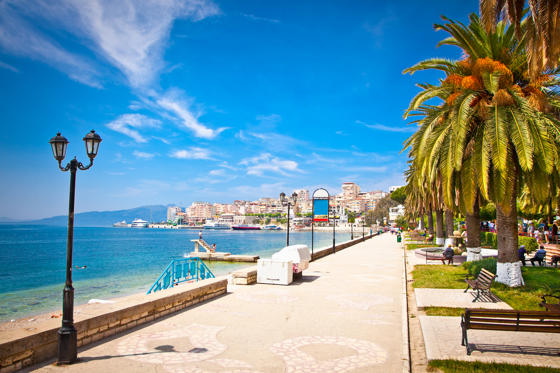 Main city promenade in Saranda, Albania.