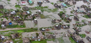Aerial view from a helicopter of flooding in Beira, Mozambique on March 18. The Red Cross says that as much as 90 percent of Mozambique's central port city of Beira has been damaged or destroyed by tropical Cyclone Idai.