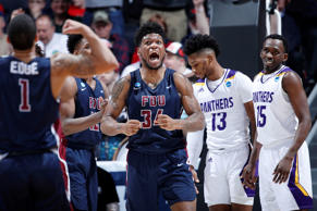 DAYTON, OHIO - MARCH 19: Mike Holloway Jr. #34 of the Fairleigh Dickinson Knights celebrates during the second half against the Prairie View A&M Panthers in the First Four of the 2019 NCAA Men's Basketball Tournament at UD Arena on March 19, 2019 in Dayton, Ohio. (Photo by Joe Robbins/Getty Images)
