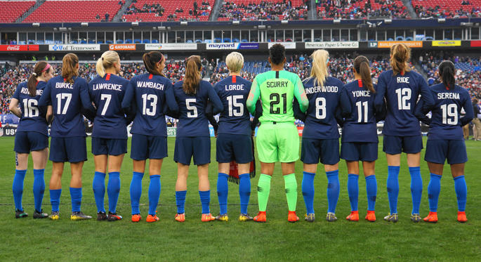 Slide 1 of 21: The USA team pose in jerseys honoring inspirational women, from back Row:- (L-R) Rose Levelle, (J. K. Rowling) Tobin Heath (Doris Burke), Abby Dahlkemper (Jennifer Lawrence), Alex Morgan (Abby Wambach), Kelley O'Hara (HOA - Heather O'Reilly), Megan Rapinoe (Audre Lorde), Adrianna French (Briana Scurry), Julie Ertz (Carrie Underwood), Mallory Pugh (Beyonce), Tierna Davidson (Sally Ride) and Crystal Dunn (Serena Williams) before the SheBelieves Cup match between The United States and England at Nissan Stadium on March 2, 2019 in Nashville, Tennessee, United States. (Photo by Action Foto Sport/NurPhoto via Getty Images)