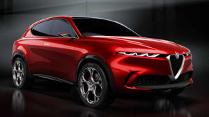 a red car parked in a parking lot: Alfa Romeo Tonale concept