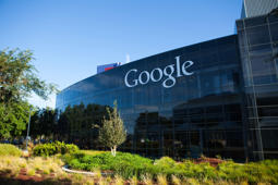Mountain View, USA - August 28, 2015: Big Google logotype on the glass office building at Google Headquarters office located at Mountain View, California