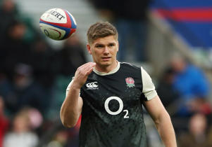 England's Owen Farrell during the warm up