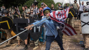 CHARLOTTESVILLE,VA-AUG12: Clashes at the Unite the Right rally in Charlottesville, VA, August 12, 2017.  (Photo by Evelyn Hockstein/For The Washington Post via Getty Images)