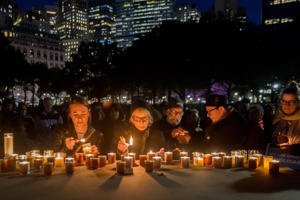 BATTERY PARK, NEW YORK, UNITED STATES - 2018/10/30: Members of the Jewish community in New York and allies gathered in Battery Park, holding a candlelight vigil to demonstrate support for the victims of white nationalism in Pittsburgh and resist this administrations bigotry. This is one of several solidarity events across the country. (Photo by Erik McGregor/Pacific Press/LightRocket via Getty Images)