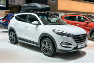 BRUSSELS, BELGIUM - JANUARY 13:    Hyundai Tucson compact SUV car on display at Brussels Expo on January 13, 2017 in Brussels, Belgium. The third generation of the Hyundai Tucson is available with varios petrol and diesel engines and trim levels. (Photo by Sjoerd van der Wal/Getty Images)