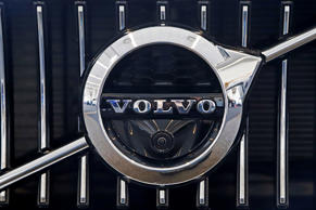This is the Volvo logo on the grill of a 2019 S90 T6 AWD Inscription automobile on display at the 2019 Pittsburgh International Auto Show in Pittsburgh Thursday, Feb. 14, 2019. (AP Photo/Gene J. Puskar)