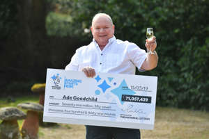 Ade Goodchild, 58, a factory worker from Hereford celebrates after scooping £71,057,439 in Friday's EuroMillions draw at the Abbey Hotel, Great Malvern. (Photo by Ben Birchall/PA Images via Getty Images)