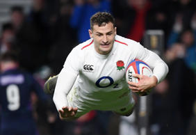 LONDON, ENGLAND - MARCH 16: Jonny May of England scores his team's fourth try during the Guinness Six Nations match between England and Scotland at Twickenham Stadium on March 16, 2019 in London, England. (Photo by Laurence Griffiths/Getty Images)