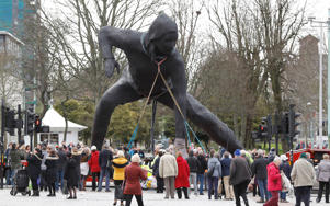 "Britain's largest bronze sculpture, ""Messenger"" is driven to Plymouth Theatre Royal through the city centre in Plymouth, March 18."