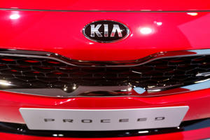 The logo of Kia is seen on the new Kia Proceed car during the first press day of the Paris auto show, in Paris, France, October 2, 2018. REUTERS/Regis Duvignau