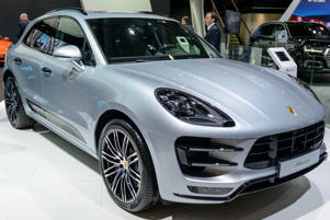 BRUSSELS, BELGIUM - JANUARY 13:    Porsche Macan luxury compact SUV car front view on display at Brussels Expo on January 13, 2017 in Brussels, Belgium. The Macan is availble with various petrol and diesel engines and trim levels, including the Macan, Macan S, Macan S Diesel, Macan GTS and the Macan Turbo. (Photo by Sjoerd van der Wal/Getty Images)