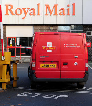A Royal Mail van enters the Royal Mail Sorting Office in Leeman Road, York.   (Photo by Anna Gowthorpe/PA Images via Getty Images)