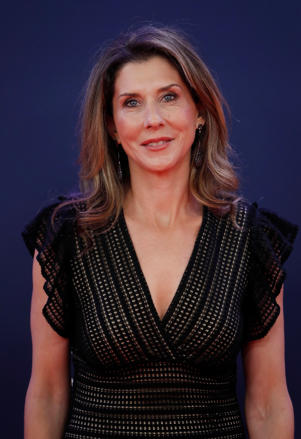 Laureus World Sports Awards - Salle des Etoiles, Monaco - February 18, 2019  Monica Seles poses as she arrives at the ceremony  REUTERS/Eric Gaillard
