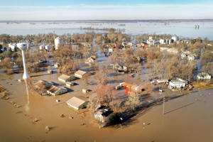 Floodwater surrounds the town on March 22, 2019 in Craig, Missouri.