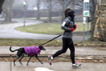 A woman runs with her dog on the Northside of Pittsburgh as snow begins to fall in the early afternoon Sunday, March 3, 2019. (AP Photo/Gene J. Puskar)