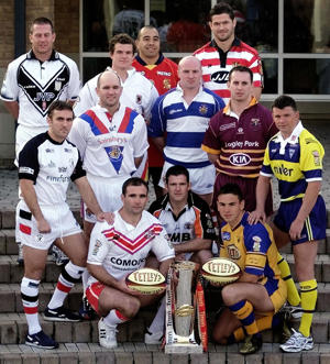 The captains from all 12 Super League clubs pose during a press call to launch the new Rugby League Super League season at Thorpe Park Hotel, Leeds.