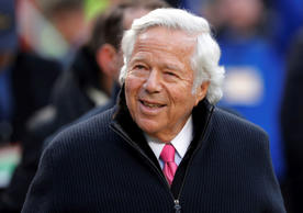 FILE - In this Jan. 20, 2019, file photo, New England Patriots owner Robert Kraft walks on the field before the AFC Championship NFL football game in Kansas City, Mo. The illicit massage parlor sting in Florida that ensnared Kraft is a reminder of how challenging it's been to crackdown on underground prostitution operations. (AP Photo/Charlie Neibergall, File)