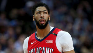 CAPTION: DALLAS, TEXAS - MARCH 18: Anthony Davis #23 of the New Orleans Pelicans walks off the court against the Dallas Mavericks in the first half at American Airlines Center on March 18, 2019 in Dallas, Texas.