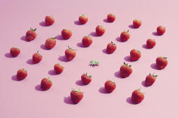 A group of strawberries surrounding an eaten one that stands out from the crowd