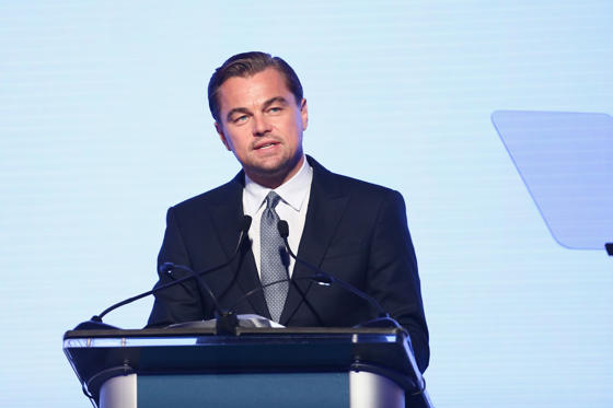 Slide 1 of 24: SANTA ROSA, CA - SEPTEMBER 15: Leonardo DiCaprio speaks onstage at the Leonardo DiCaprio Foundation Gala at Jackson Park Ranch on September 15, 2018 in Santa Rosa, California. (Photo by Tommaso Boddi/Getty Images for Leonardo DiCaprio Foundation)
